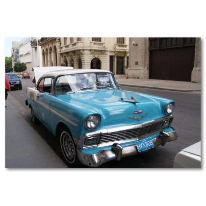 Αφίσα (Κούβα, αυτοκίνητο, δρόμος, κτίρια)